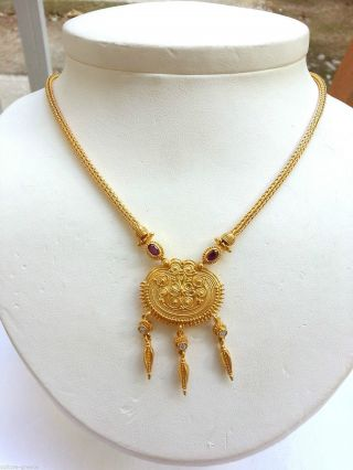 18k Gold Ancient Greek Necklace photo