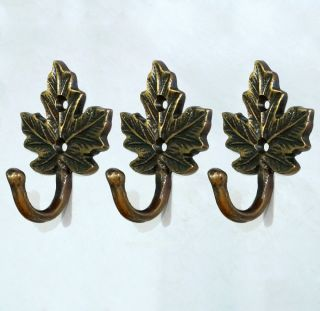 Of 3 Pcs Antique Vintage Hook Brass Autumn Leaf Wall Coat Hat Hanging Hooks photo