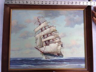 Vtg Signed J.  Winfried Sunny Seascape Clipper Ship Boat Oil Painting photo