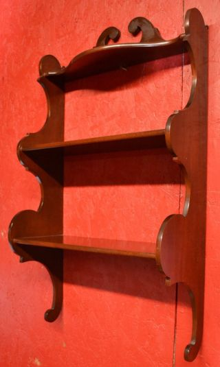 Solid Mahogany Vintage Scalloped Wall Shelf photo