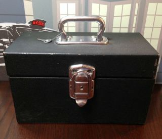 Vintage Heavy - Duty Black Metal Storage Box W Lock & Key Lunch 12