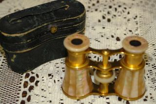 Antique Lemaire French Opera Glasses Mother Of Pearl Binoculars With Case photo