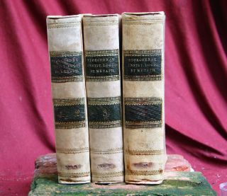 3 Antique Books Logic Et Metaph,  4 Volumes,  Napels 1816 Italy.  Psychology photo
