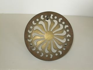Antique British Brass Fireside Victorian Trivet Sun Design Three Bamboo Legs photo