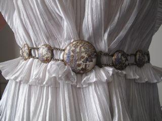 Rare Complete 19th Century Japanese Satsuma Cloisonne Belt On Silver photo