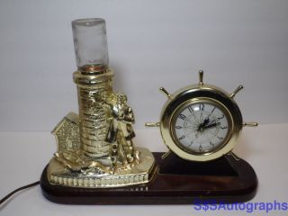 Vintage Working Lanshire Lighthouse Nautical Ship Wheel Lightup Clock Chicago Il photo