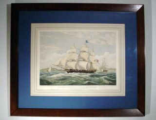 British 19th Century Maritime Engraving Samuel Enderby Whaling Ship Aquatint ' 35 photo