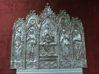 Impressive Huge And Heavy Gothic Silver Shrine Panel/applique,  16th Century Ad. photo