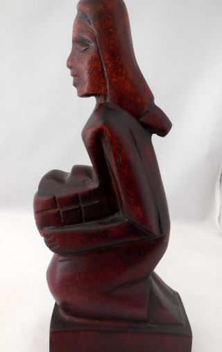 Vintage African Red Wood Carving Native Woman Carrying Basket Signed photo