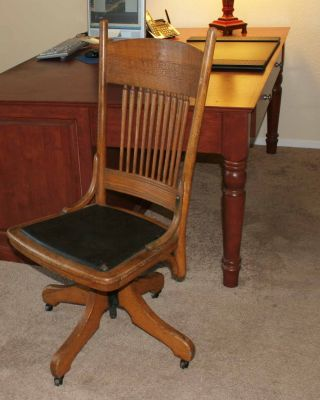 Antique Vintage Arts & Crafts Oak Swivel Office Chair photo