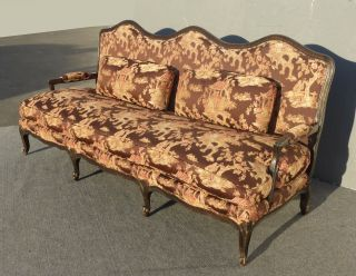 French Country Settee Oriental Asian Brown Silk Fabric Goose Down Feathers Sofa photo