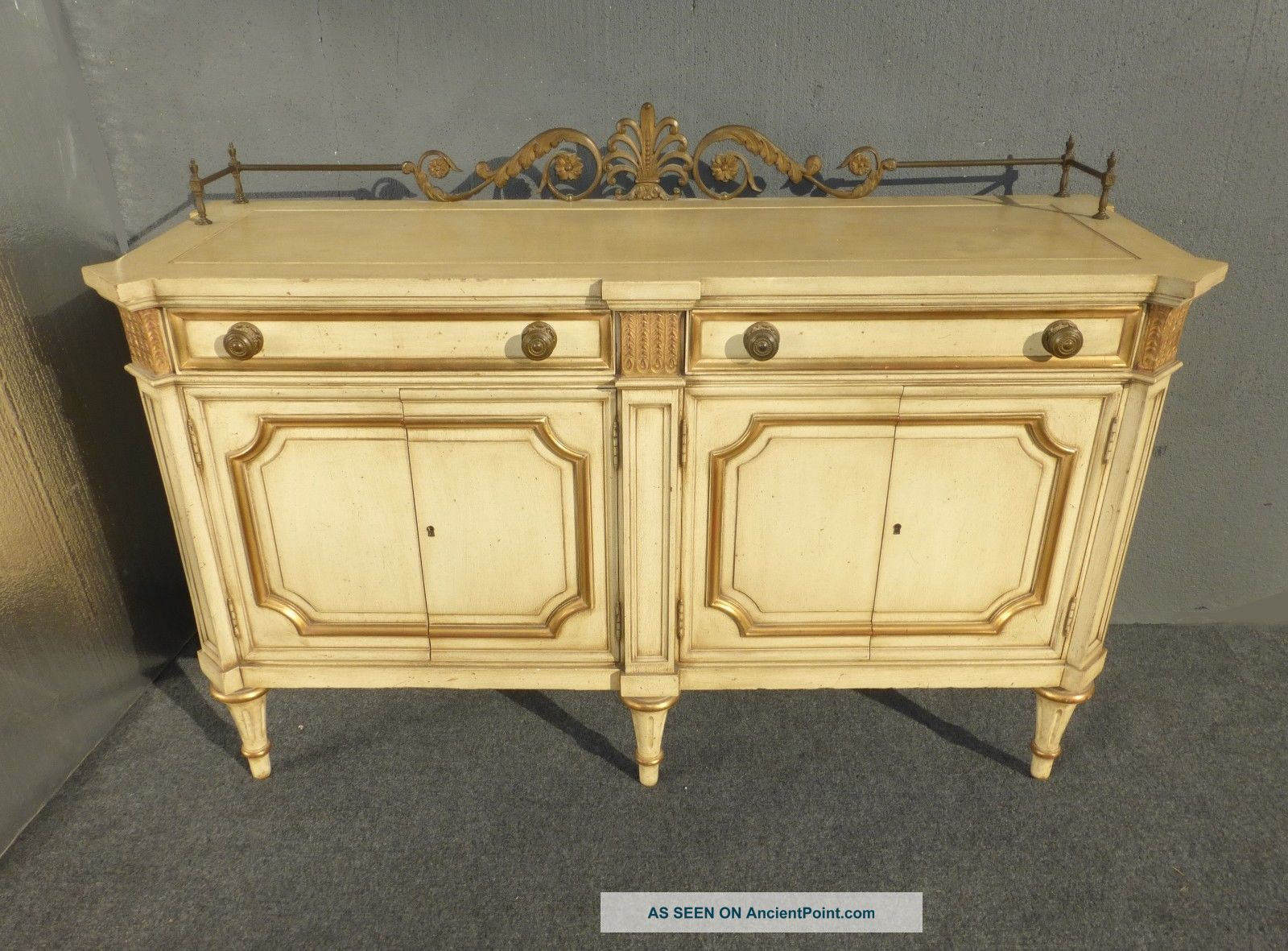 Vintage Luxury Karges Buffet French Country Cottage Gold Gilt Wood Sideboard Post-1950 photo