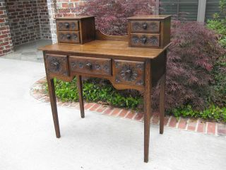 Antique English Tiger Oak Dressing Table Vanity Dresser Writing Desk W/ Drawers photo