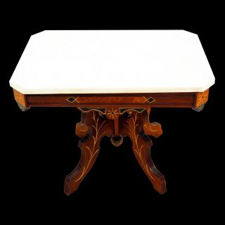 954 Antique 19th C.  Victorian Marble Top Side Table photo
