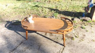 Vintage Mid - Century Oval With Rails Heywood Wakefield Coffee Table photo