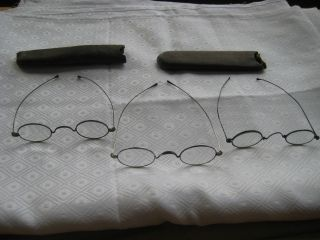 3 Pair Antique 1898 Long Arm Wire Rim Spectacles Eye Glasses 2 Leather Cases photo