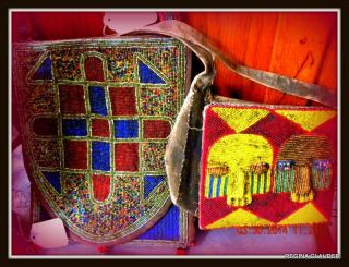 Yoruba Tribal African Vintage Medicine/diviner ' S Bags/purse Beaded Old Of 2 photo