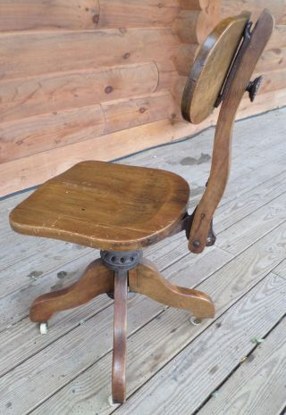Unique Antique Adjustable Cast Iron And Oak Swivel,  Rolling Desk Chair photo