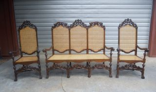 Antique Early 1800 ' S Settee With 2 Arm Chairs Hand Carved Oak Hand Woven Cane photo