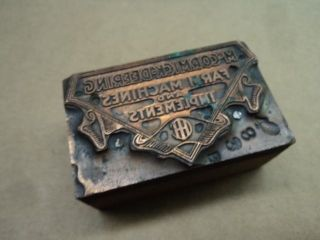 C.  1910s International Harvester Mccormick Deering Letterpress Printer Block Old photo