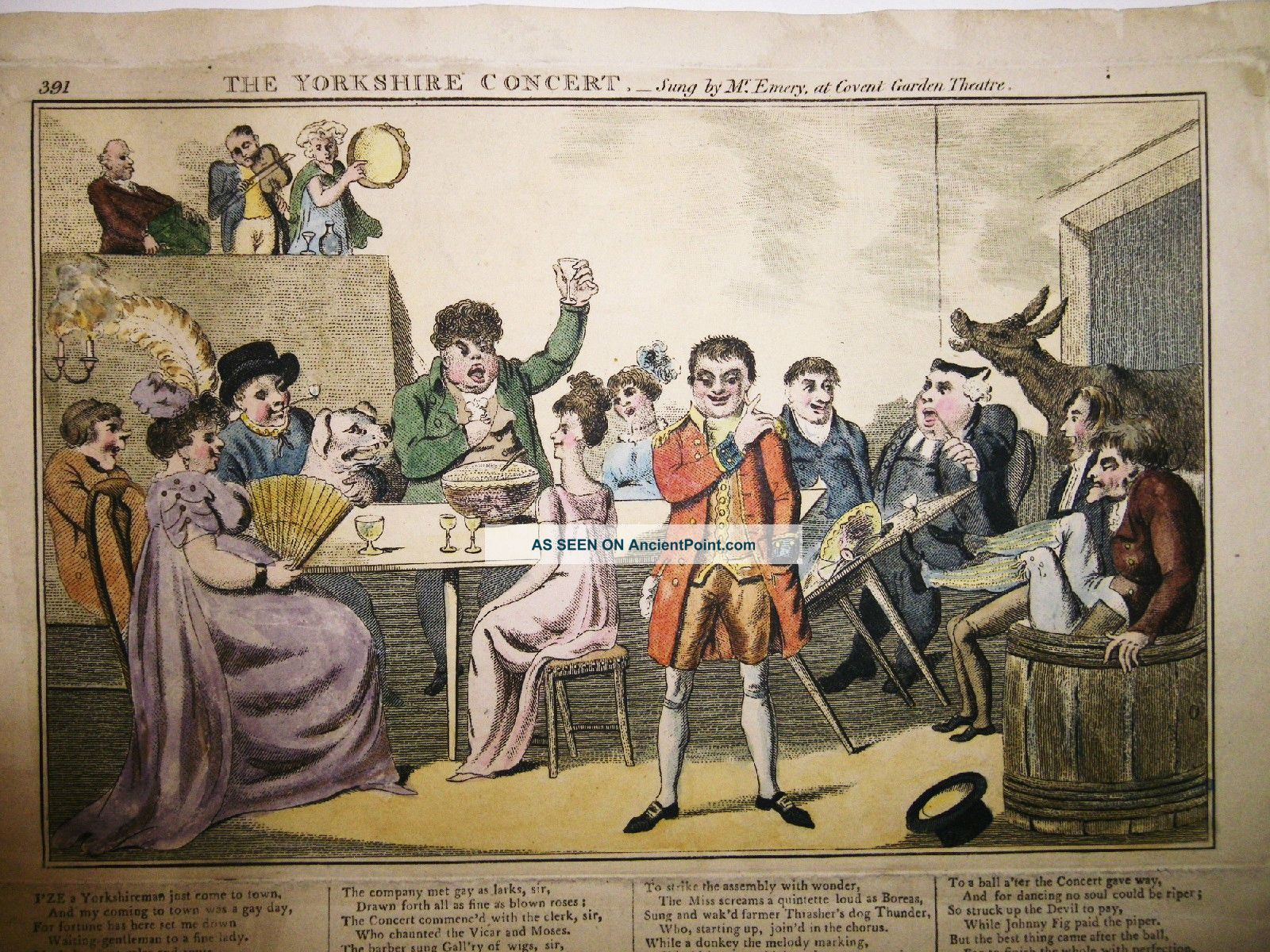 1805 Laurie & Whittle Broadside Ballad Color Caricature At Covent Garden - Rare English photo