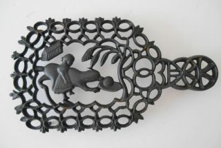 Antique/vintage Black Cast Iron Trivet House,  Girl,  Dog & Hat Marked