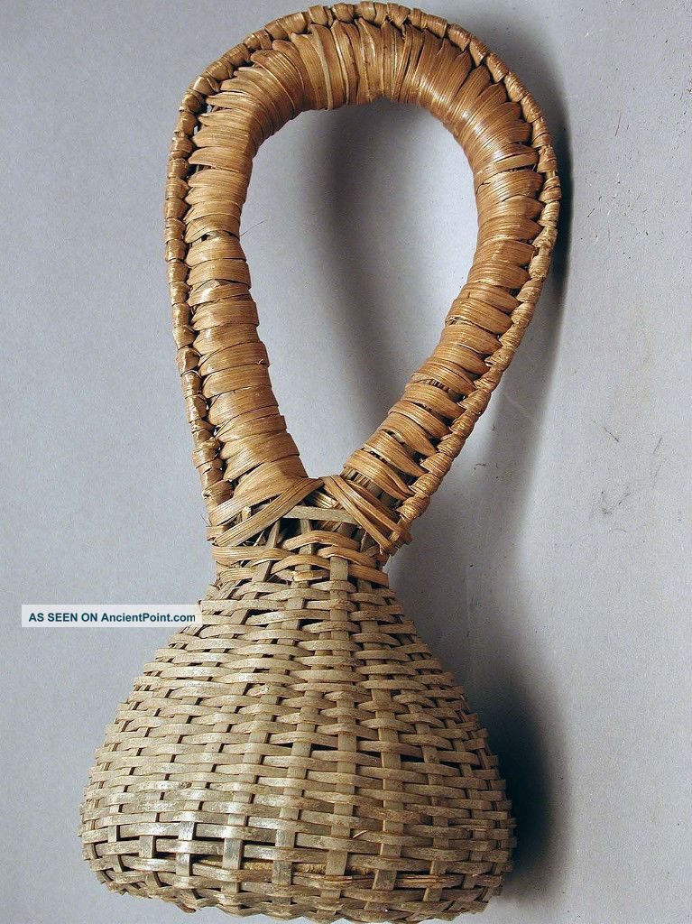 Musical Instrument African Artifact Wicker Native Basket Rattle Cameroon Ethnix Other photo
