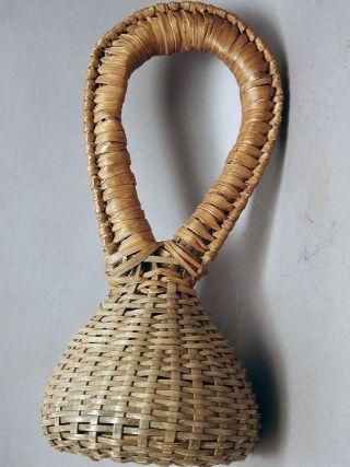Musical Instrument African Artifact Wicker Native Basket Rattle Cameroon Ethnix photo