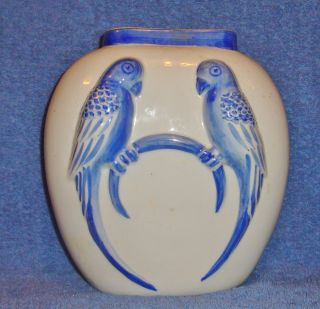 Antique Japan Vase One Side Has 2 Parrots & 1 Side Has Japanese Scene photo