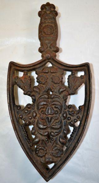 Antique Ornate Cast Iron Trivet Wilton 9 1/4
