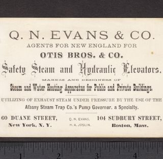 1800 ' S Otis Bros Steam Elevator Machinery Q.  N.  Evans Agent Ny Steampunk Card photo