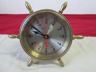 Ship`s Time Nautical Quartz Wheel Clock/excellent Condition/works Great. photo