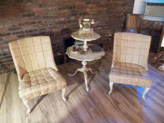 (2) Early Victorian Empire Gold Side Chair Pair Antique Sofa Seat Chippendale photo