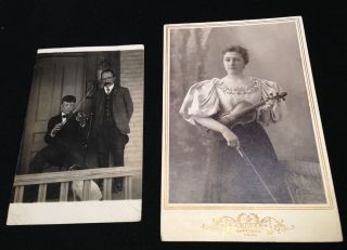 Woman W/ Violin Victorian Cabinet Photo & Real Photo Postcard Two Men & Fiddle photo