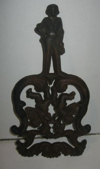 Vintage Jzh Cast Iron Trivet 1948 2 Cherubs L Hot Plate Stern Figurine On Handle photo