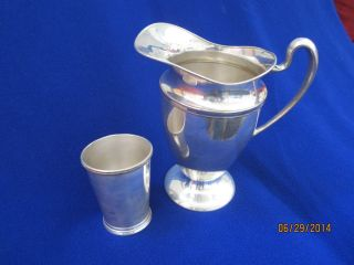 Antique Silverplate Pitcher By Queen City Silver Co.  & Cup International Silver photo