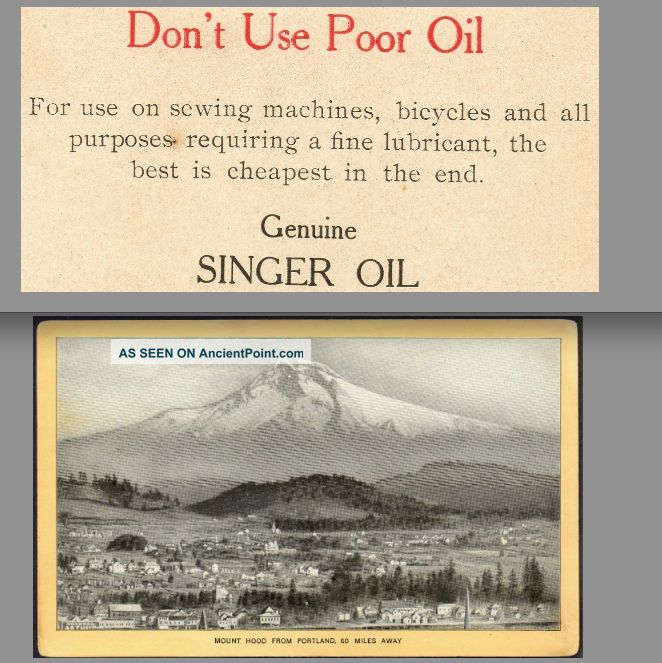 C.  1905 Bicycle Oil Big Adv Card Singer Sewing Machine Oil Mount Hood Photo View Other photo