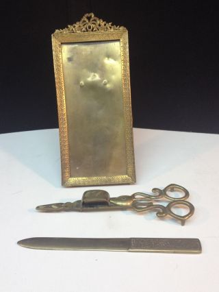 Of 3 Brass Vintage Items Photo Frame,  Letter Opener & Candle Snuffer India photo