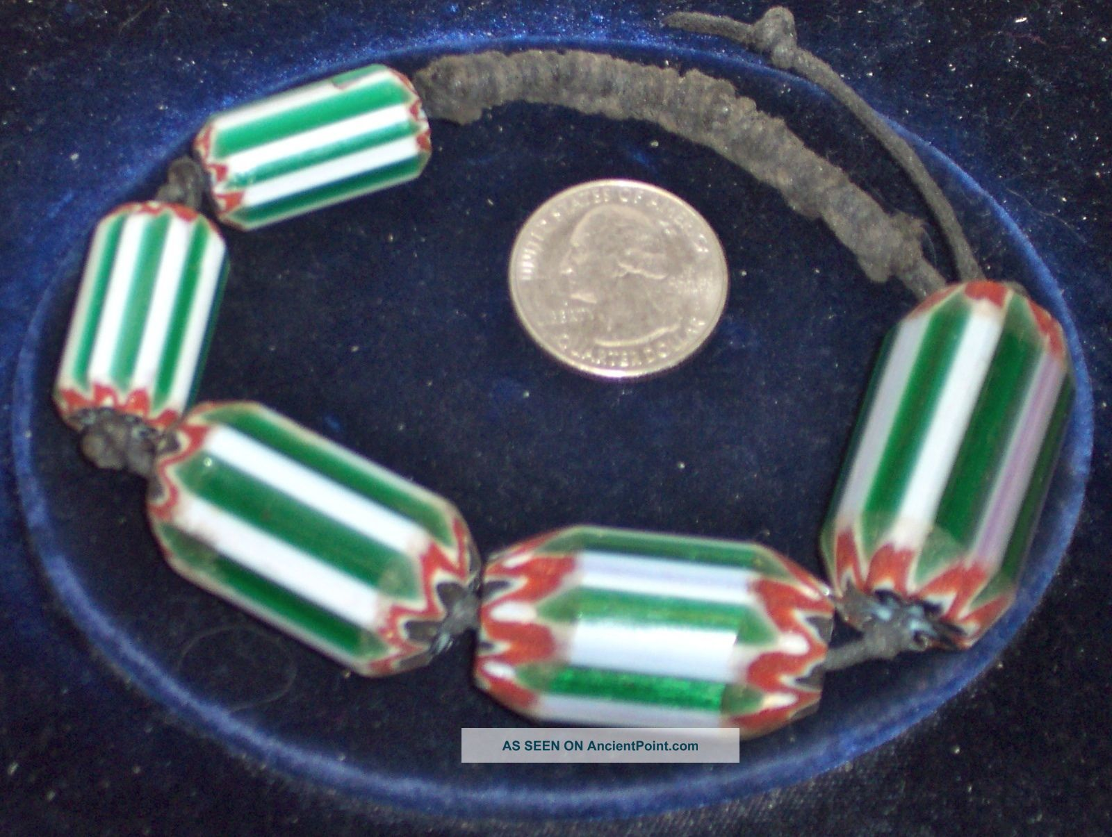 Five Unusual Vintage Six Layer Chevron African Trade Beads Other photo