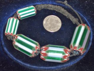 Five Unusual Vintage Six Layer Chevron African Trade Beads photo