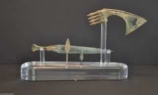 Rare Ancient Collection Of Luristan Weapons Includes Axe Head/dagger & More photo