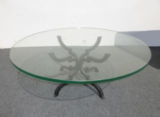Vintage Spanish Style Coffee Table Thick Round Glass Top Heavy Wrought Iron photo