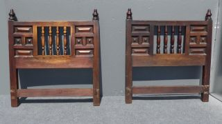 Two Vintage Spanish Style Twin Headboards King Wood Artes De Mexico Made/ Mexico photo