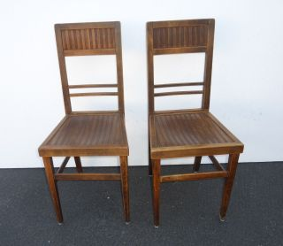 Pair Antique Plank Wood Accent Chairs Stamped Ny Hart Furnishers Eichster photo