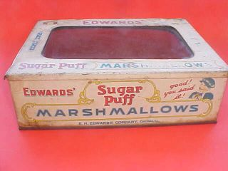 Antique Marshmallow Display Case Box Tin Litho Eh Edwards Store Counter Bin photo