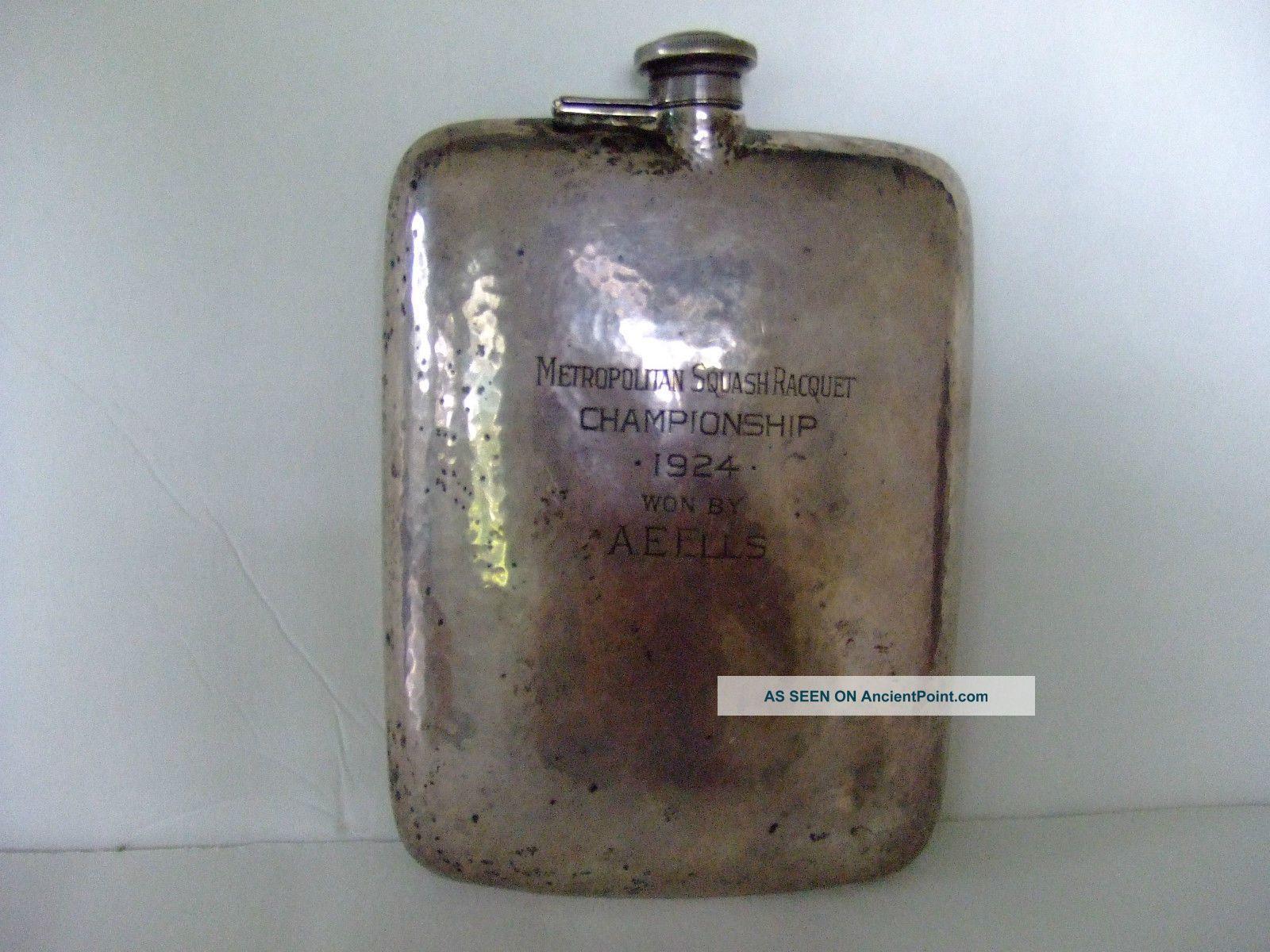 Harvard Squash Capt.  A E Ells Sterling Silver Flask 3/4 Pint 341 Grams Bottles, Decanters & Flasks photo