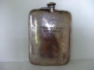 Harvard Squash Capt.  A E Ells Sterling Silver Flask 3/4 Pint 341 Grams photo