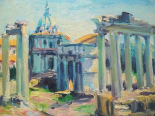 Listed Art O/b Painting Italy Ancient Rome The Forum Coa 9