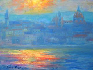 Boudin Sargent Interest O/b Painting Of Florence Coa 9x12 photo