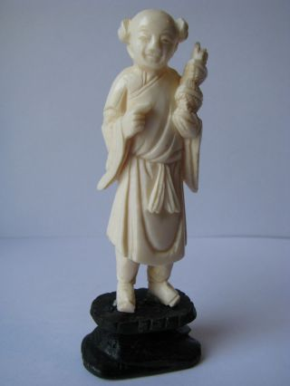 Old Chinese Carved In Deer Bone,  Peasant photo